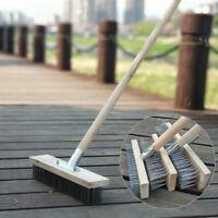 Metal Wire Broom Brush Sweeping Deck Scrub Heavy Duty Garden Moss Cleaner