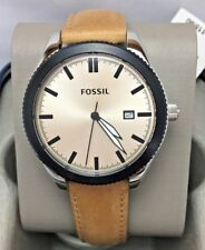 Fossil Womens Watch Classic Beige Face Brown Leather Strap Date BQ3259 NWT