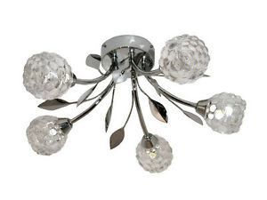 TP24 Piccadilly Covent Garden 5x3W LED chrome glass ceiling light