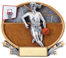 Basketball Female Full Color Resin Oval Award Trophy Plaque Free Engraving
