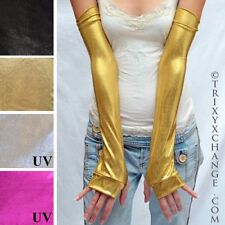 Gold Gloves Long Arm Warmers Wonder Fingerless Covers Shiny Woman Sleeves 1002