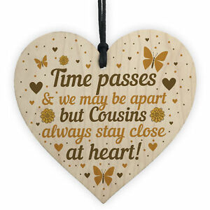 Cousin Gifts For Birthday Christmas Wooden Heart Plaque Family Friendship Gift