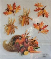 Cornucopia Thanksgiving Fall Corn Leaves Glitter Scrapbook Stickers