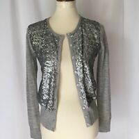 Ann Taylor Women's Small Gray button Cardigan Sweater Sequince front long sleeve