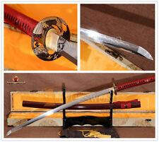 Practice Function Japanese Samurai Sword Katana Folded Steel Clay tempered Blade