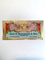 2 Old Vintage - Sam H. Brunswick & Bro CIGAR Box LABELS  - Pittsfield ILLINOIS