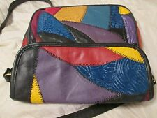 Rare Vintage Handbag Patchwork Colorful Leather