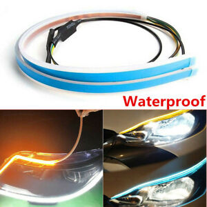 60cm LED Headlight Slim Strip Light Daytime Running Sequential Flow Signal 12VDC
