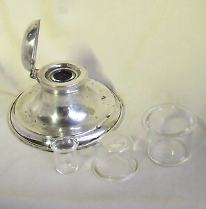 CHOICE OF REPLACEMENT GLASS LARGE INK LINER INSERTS - Liners for Silver Inkwell