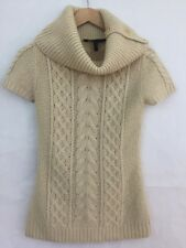 BCBG MaxAzria Cable Knit Ivory Cream Short Sleeve Cowl Neck Sweater Top Size XS