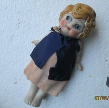 Antique Bisque Doll 6 inches, C1930 Blonde Blue Eyes, Handmade clothes