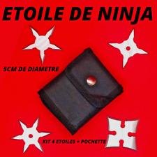 étoile de ninja acier à lancer ensemble de 4 + pochette neuf art martiaux karaté