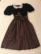 Girls Dress Kids Party Christmas Outfit Size 4 Holidays Black Velvet and Plaid