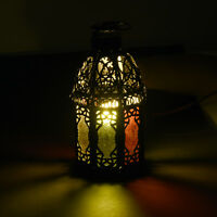 Lantern Lamp Standing Hanging Coloured Metal Glass Candle Holder Moroccan Style