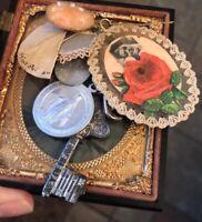 Antique Vintage Reliquary Relic Medals Agnus Dei Rose Ferron