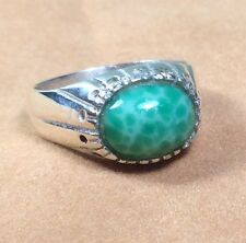 Vintage Antique 950 Fine Silver/Green Amazonite Gemstone Ring - Size 6.5