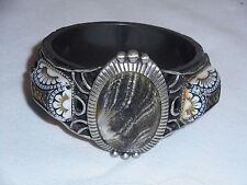 Vintage Ornate Clamper Bracelet Marbled & Painted Glass Dark Metal Black (ArB