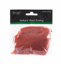 TRIMITS Natural 100% Wool Roving For Needle Felting 10g - SIENNA