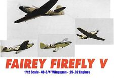 """Model Airplane Plans (RC): Fairey Firefly 1/12 Scale 40-3/4"""" for .25-.32 Engine"""