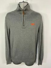 MENS VINTAGE SUPERDRY SMALL GREY LONG SLEEVED ZIP NECK PULL OVER SWEATER JUMPER