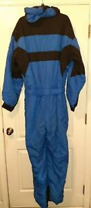 VINTAGE EDELWEISS ONE PIECE BELTED SKI SUIT SNOW BIB MEN'S X-LARGE RARE W/ HOOD