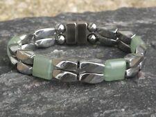 Mens Womens Silver Magnetic Hematite Bracelet Anklet Necklace w LIGHT GREEN JADE
