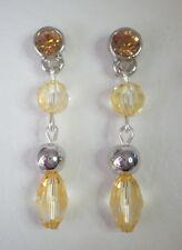 Citrine coloured & silver tone bead drop earrings Approx. 4cm