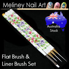 4 pc Nail Art Liner & Flat Square Brush Set Floral Print Drawing Painting Thin