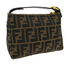 Authentic FENDI Zucca Pattern Hand Bag Brown Nylon Leather Vintage Italy V09120