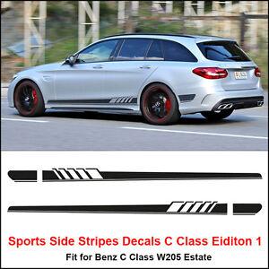 Edition 1 Side Stripe Decal Sticker for Benz W205 C Class Estate AMG Matt Black