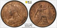 PCGS MS-64 RED-BN GREAT BRITAIN HALFPENNY 1/2 PENNY 1895 (FIRST+BETTER DATE!) #2