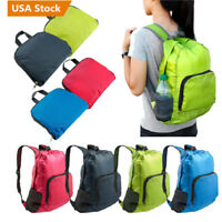 30L SPORTS BOOKBAG Camping Travel Folding Backpack Duffle Gym Nylon Bags Mini US