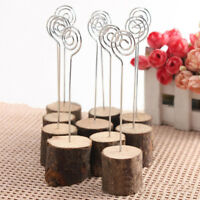 AM_ EG_ 10Pcs Rustic Wedding Table Wood Place Number Name Card Stand Holder Deco