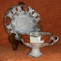 Vintage Lusterware Cup & Saucer - Unmarked - Iridescent