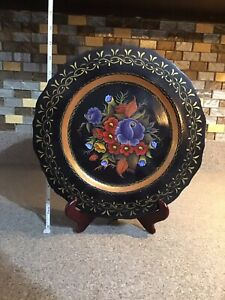 """12"""" Vintage Black Lacquer Painted Wood Black Gold Red Purple Flowers Russian"""