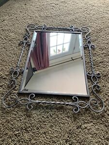 Southern Living At Home Ornate PROVIDENCE Black Metallic Rubbed Iron Mirror