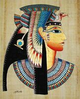 Egyptian Hand-painted Papyrus Signed Artwork: Bust of Queen Nefertari SIGNED