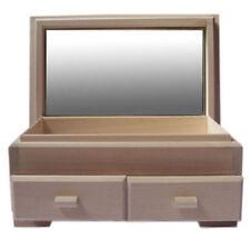 2 tiroirs finition naturelle Boîte à bijoux bois de pin avec miroir pliable DD101