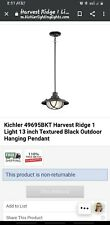 Kichler Harvest Ridge Textured Black Outdoor Hanging Pendant