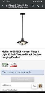 Kichler Harvest Ridge Textured Black Outdoor Hanging Pendant