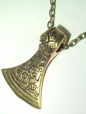 "BUTW REAL BRONZE Celtic Axe Norse Viking Pendant 20"" Bronze Patina Chain 0926E"