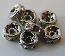 50pcs 4mm Platinum (Dark) Silver Mideast Rhinestone Crystal Rondelle Spacers