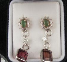 Huge 14k gold SS & 14+ carat pink peach Tourmaline, emerald & diamond earrings