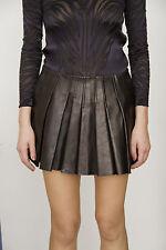 ALEXANDER WANG Black Leather Pleated A Line Mini Barneys Saks Dress Skirt 6/M