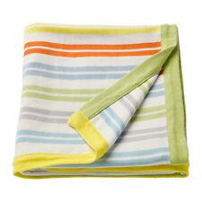 "Baby Blanket soft cotton 33x45"" multicolour strip infant child Ikea Dromland New"