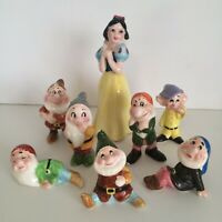Vintage Walt Disney Snow White & The Seven Dwarfs Ceramic Figures Japan Full Set