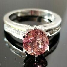 3.50TCW Pink Peach Tourmaline Princess Diamond Platinum ring
