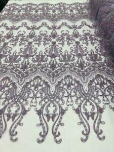 lilac Beaded Fabric - Fancy Beaded Embroidered Damask Fabric By The Yard