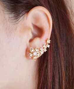 Flower Ear Climber Floral Ear Crawler Gold Crystal Ear Wraps Ear Cuffs