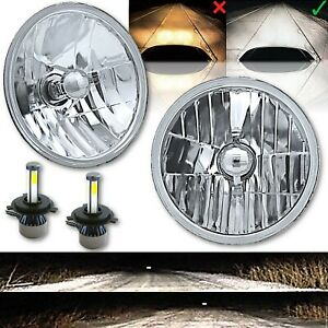 "7"" LED Crystal Clear Glass Metal Headlight 4000Lm 6k H4 Light Bulb Headlamp Pair"